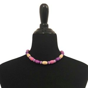 Vintage Pink Wood Beaded Choker Necklace